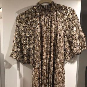 Kate Spade Gold Mock Neck Midi Dress Size 4